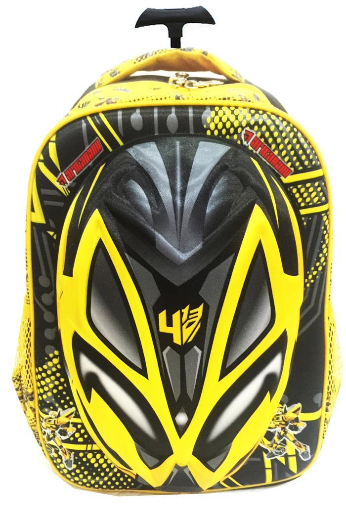Tas Troley Sekolah Anak SD Transformer Bumblebee Hard Cover 3D Timbul