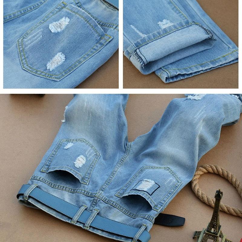 Celana Jeans Pedal Anak Laki-Laki Berlubang Model Tipis Trendi (Biru) (Biru
