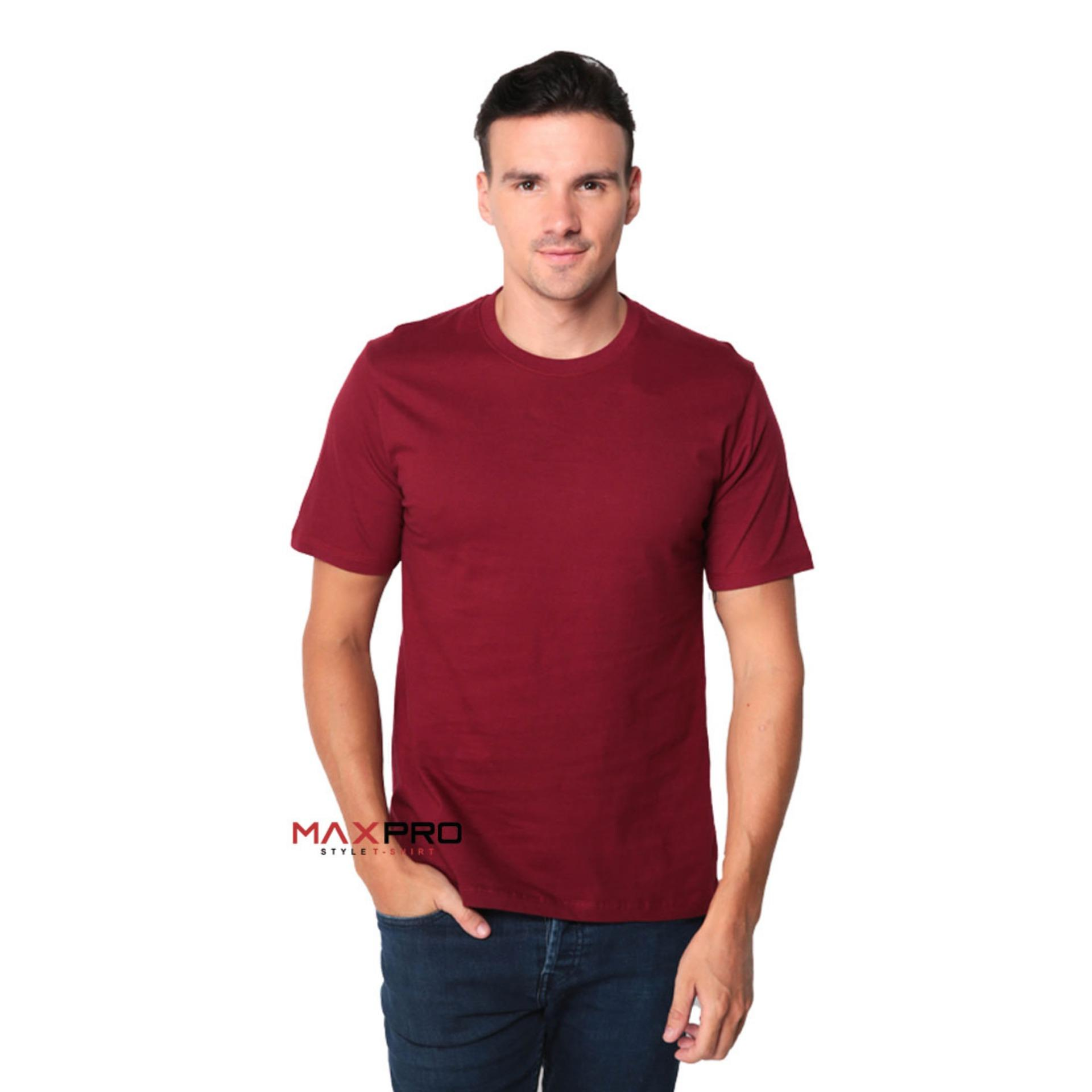 MaXPro Kaos Polos Pria Merah Maroon  - T-Shirt Distro Cowok Tumblr Tee / Kaos Oblong / Kaos Distro / Kaos Couple / Baju Kaos Atasan Pria Marun