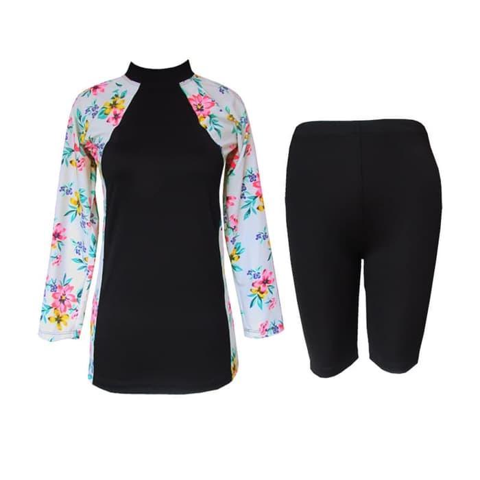 Baju Renang Setelan untuk Dewasa Model Stelan Baju-Celana Motif Bunga - M05