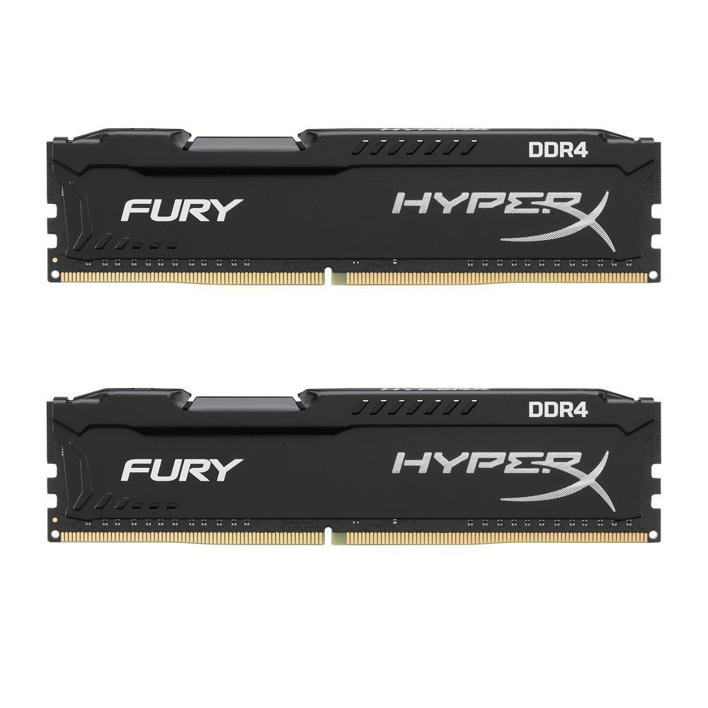 Kingston HyperX Fury DDR4 8GB (4GB x 2) 2400Mhz PC19200 Non-ECC CL15 [HX424C15FBK2/8] - Hitam