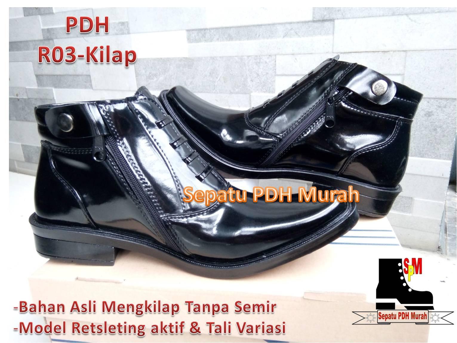 Sepatu PDH Mengkilap Asli, Model R-03  Standar Polri  Harga Promo