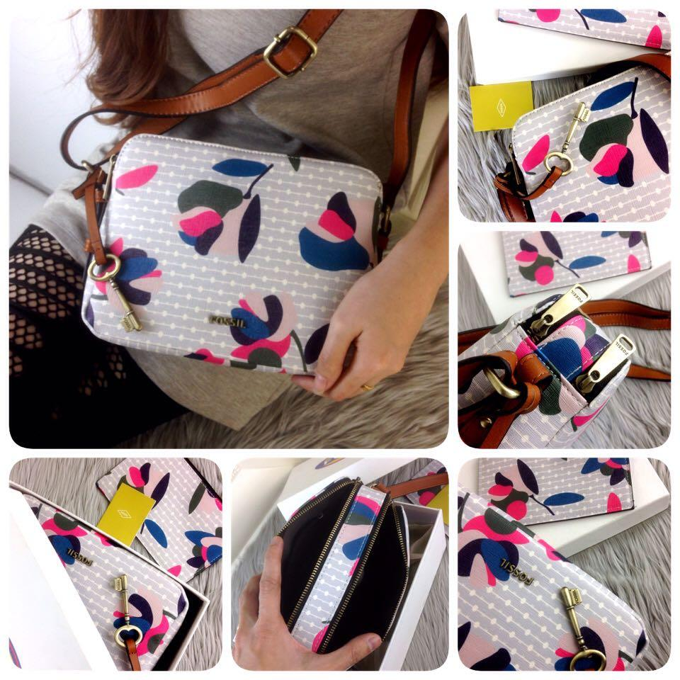 Fitur Tas Wanita Fossil Piper Toaster Floral Multi Grey Double Zip Sydney Satchel Abu Detail Gambar Bag Ss18 Terbaru