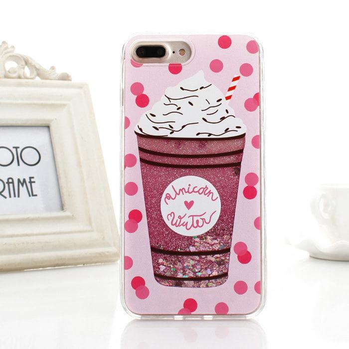 Case Samsung J7 / J7 Core Pink Art Dynamic Water Glitter Liquid Quicksand Cover Case Back Cover Soft Case Flip Case Glitter Casing Hp Terbaru Trendy