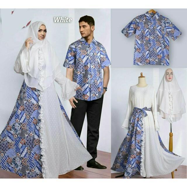 (JNH Shop)    Couple Sania Putih Gamis Syari Baju Pasangan Sarimbit Batik White Tm