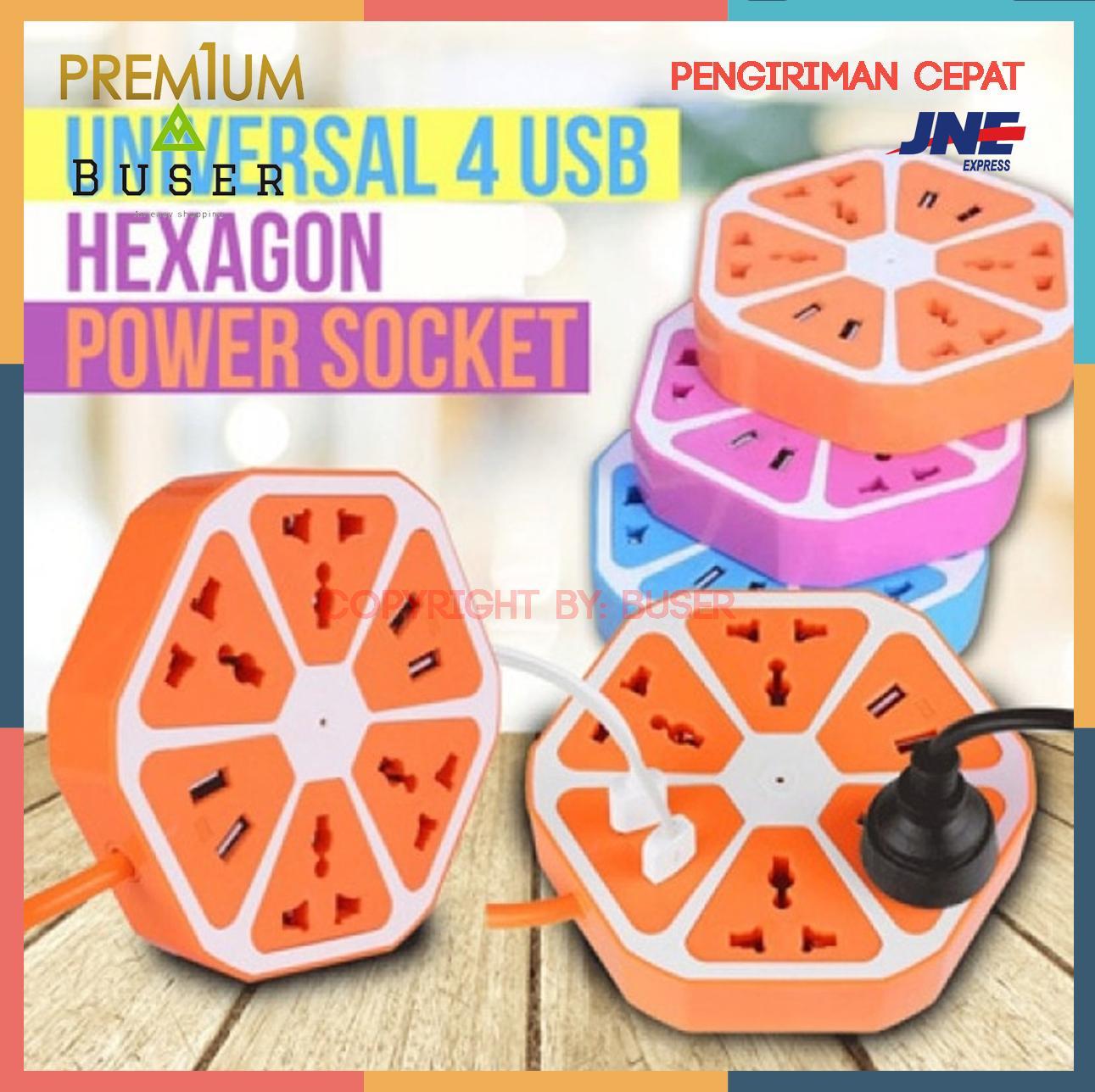 Buser - Kado Unik - Stop Kontak USB Hexagon Socket + 4Usb + 4 Colokan /