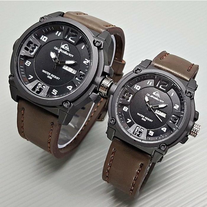 jam tangan couple quiksilver semi ori / jtr 1173 coklat / Jam tangan wanita / jam
