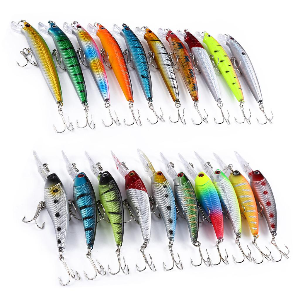 Kelebihan Floating Minnow Fishing Lure Umpan Buatan 3d Mata 85 Cm 68gr Crank Bait Treble Hook Crankbait 20 Pcs 2 Models Mixed Tackle