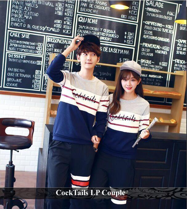 LenganPanjang Baju Lengan Panjang Couple Kaos Kembar Simple Cocktails