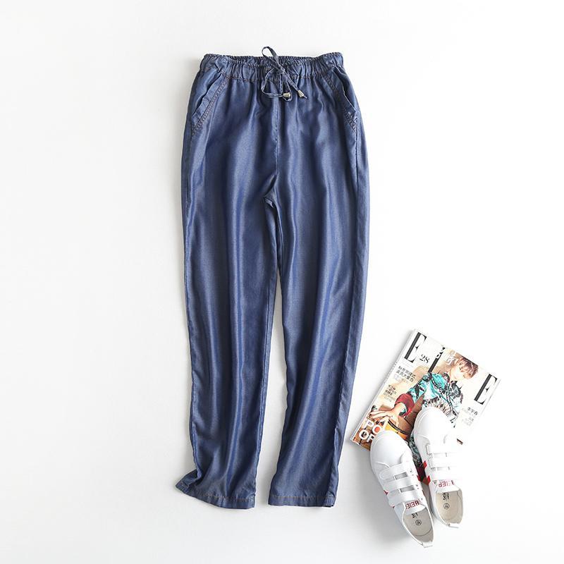 Celana Harem Korea Modis Gaya Musim Panas Jeans Tencel Bagian Tipis (Angkatan Laut Biru)