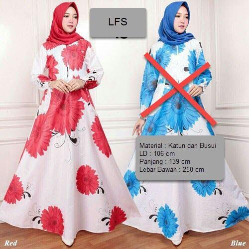 LFS Dress Gamis Baju Muslim Rossa / Terusan Maxi Hijab Syar'i/ Syari Simple Elegant / Baju Muslimah Wanita / Kebaya Modern Baloteli Tanpa Pasmina / Gaun Pesta / Pakaian Jumbo Maxy Motif Bunga Katun Jepang Murah Lebaran XXE (E18) - Biru Merah Pink Kuning