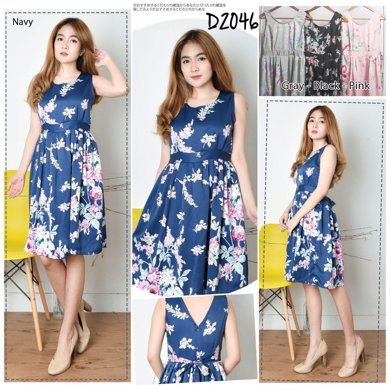 D2046 Dress Terusan Rok Lutut Lengan Pendek Motif Bunga Ikat Pinggang Tali Fashion Murah Wanita