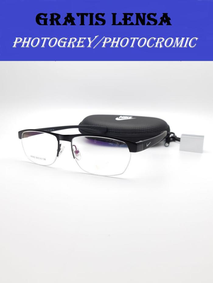 Oki_Store Frame Kacamata Unisex N7402-Black New Normal / Baca / Plus / Minus / Cylinder Photocromic / Photogrey / Anti Radiasi Komputer Berubah Warna