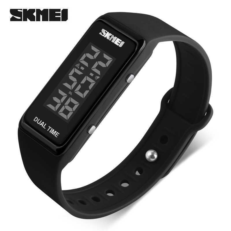 SKMEI Digital LED Watch DG1277 Jam Tangan Gelang Sport Pria Wanita Anti Air Water Resistant WR 30m Tali Strap Silicone Stylish Simple Watches - Black