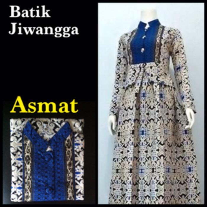 Baju Gamis Batik Pekalongan Wanita, Motif Asmat Biru, Busui