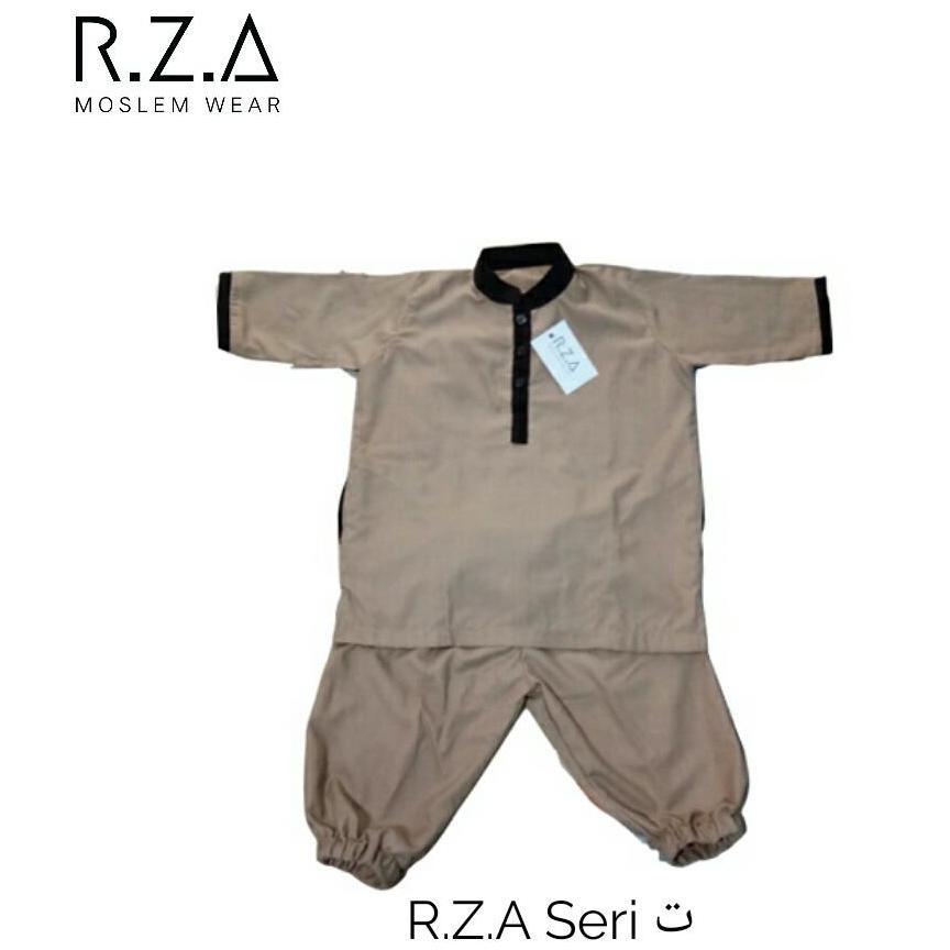 RZA MW Setelan Baju Gamis Turki Seri ( Ta' ) Anak Laki Baju dan Celana Warna Coklat Muda Kain Premium Dingin Dipakai Pakistan Arab Koko Jubah Anak Syari Syari Ganteng Tidak Isbal Lebaran Hari Raya Idul Fitri