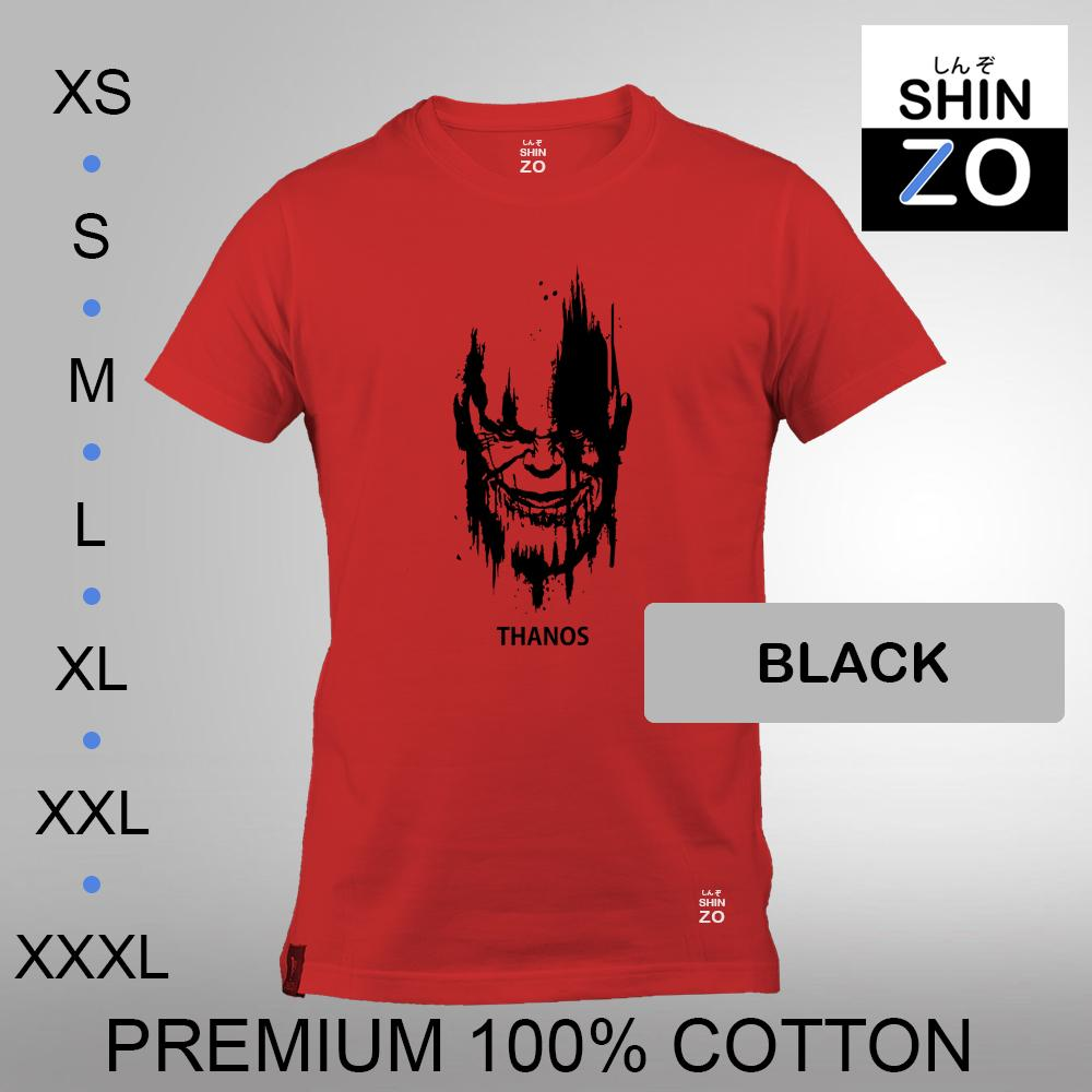 Shinzo Design - Kaos Oblong Distro T Shirt Tee Casual Fashion Atasan Cloth Anime Custom - Premium Cotton Combed 30s Ring Spun Export Quality - Pria - The Avengers Infinity War Thanos - Red Merah