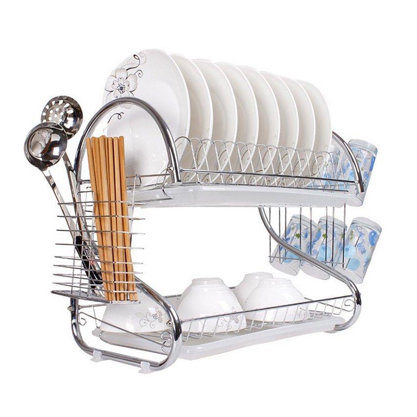 Rak Piring 2 Susun / Tingkat  - Dish Drainer Stainless Minimalis