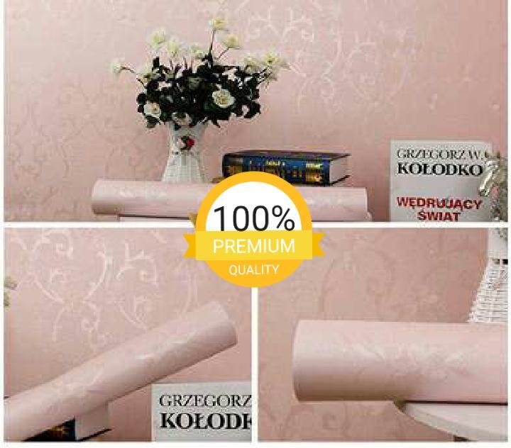 Grosir murah wallpaper sticker dinding kamar ruang indah bagus cantik elegan pink bertekstur
