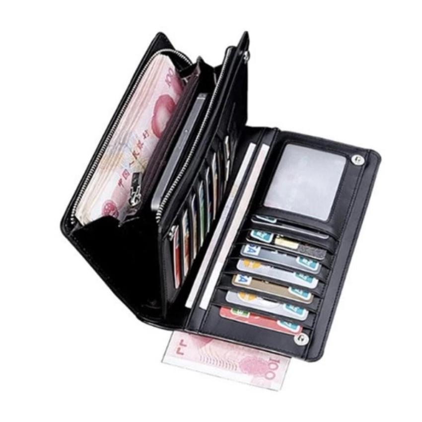 Dompet Zipper PU Leather Long Section Multicard - Black