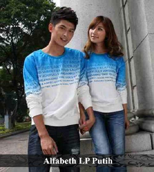 LenganPanjang Baju Couple Lengan Panjang Kaos Pasangan Keren Alfabeth Putih