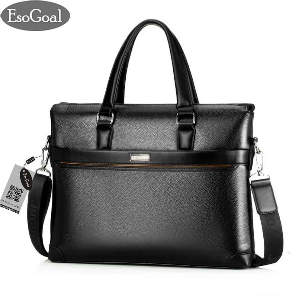 EsoGoal Pria Leather Briefcase Laptop Handbag Messenger Tas Bisnis