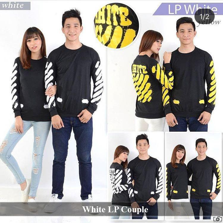 LenganPanjang Kaos Couple Lengan Panjang Keren Baju Pasangan Simple White LP