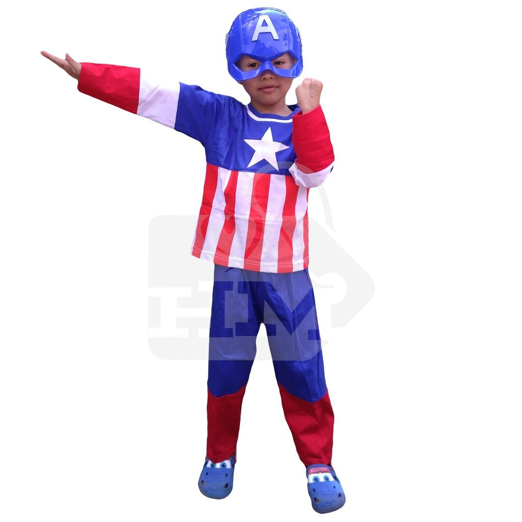 Fitur Size M Baju Setelan Kostum Anak Superhero Captain America Topeng Super Hero
