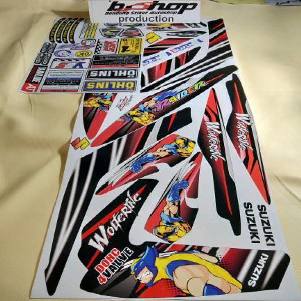 sticker suzuki satria fu merah 2012-14 BONUSSSS stiker warning velg logo motor Bishop striping