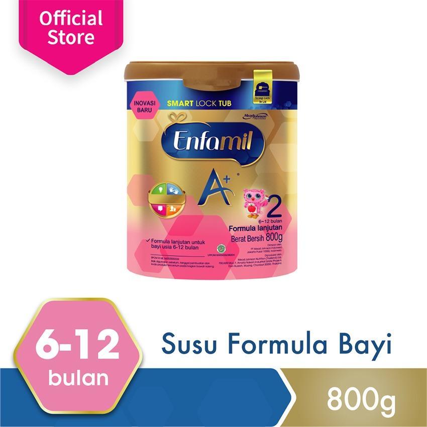 Enfamil A+ 2 Susu Bayi Smart Lock Tub - Plain - 800 gr