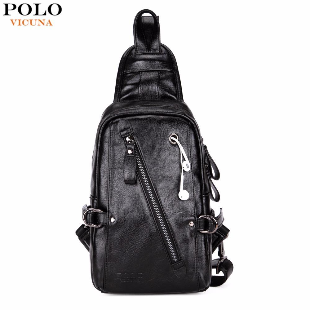 bfb76c94a044 VICUNA POLO Fashion Black PU Leather Sling Bag For Man Solid Patchwork  Leisure Men Shoulder Bag