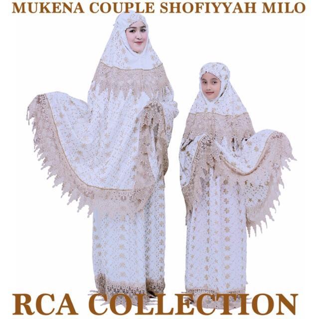 Mukena Couple Prada Keong Milo Dan Putih Renda Daun Melati Warna Putih Dan Milo Keong Milo