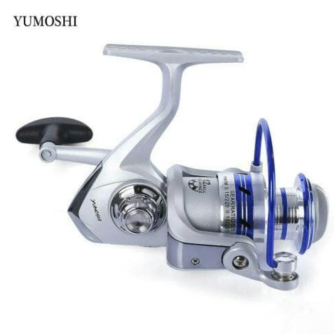 Reel Yumoshi Al7000 12Bb Silver Blue / Reel Pancing Laut Yumoshi - Pancingqsad