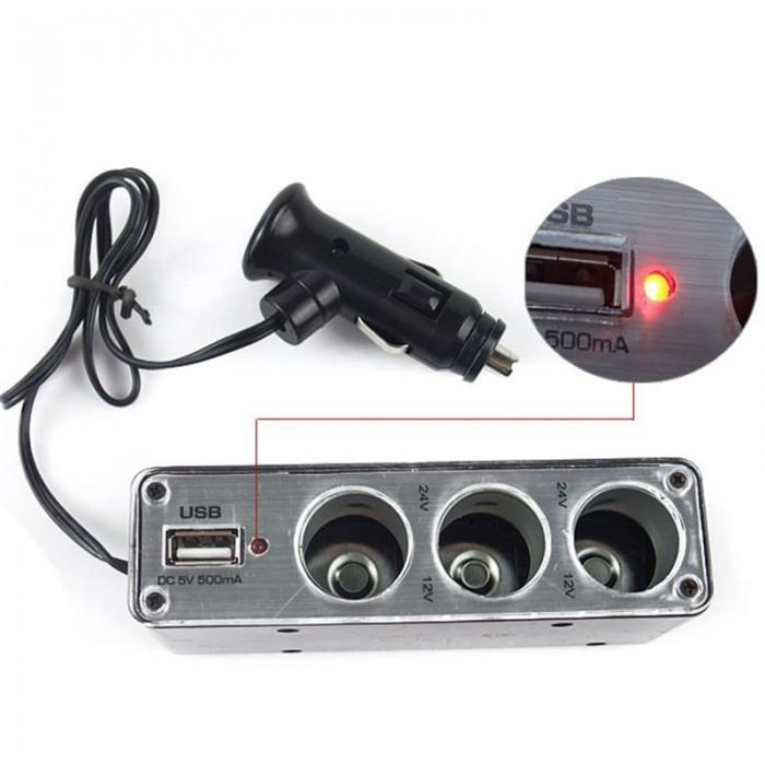 Car Lighter 3 Socket With Usb 12v/24v Colokan Charger Telephone Mp3 Gps Mobil By Hob Store.