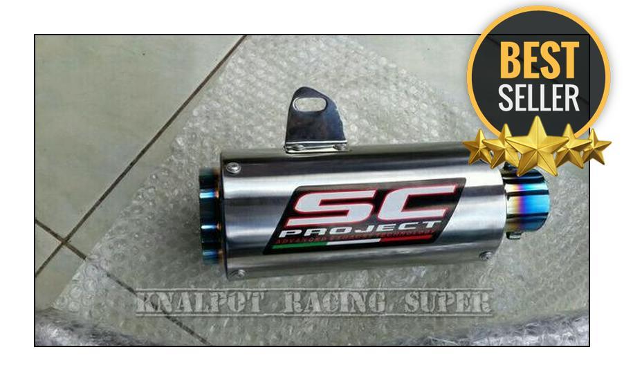 Knalpot Racing Half Blue Slip On Kawasaki Ninja 250 Fi dan Karbu Plug and Play Dapat di pakai ke mo