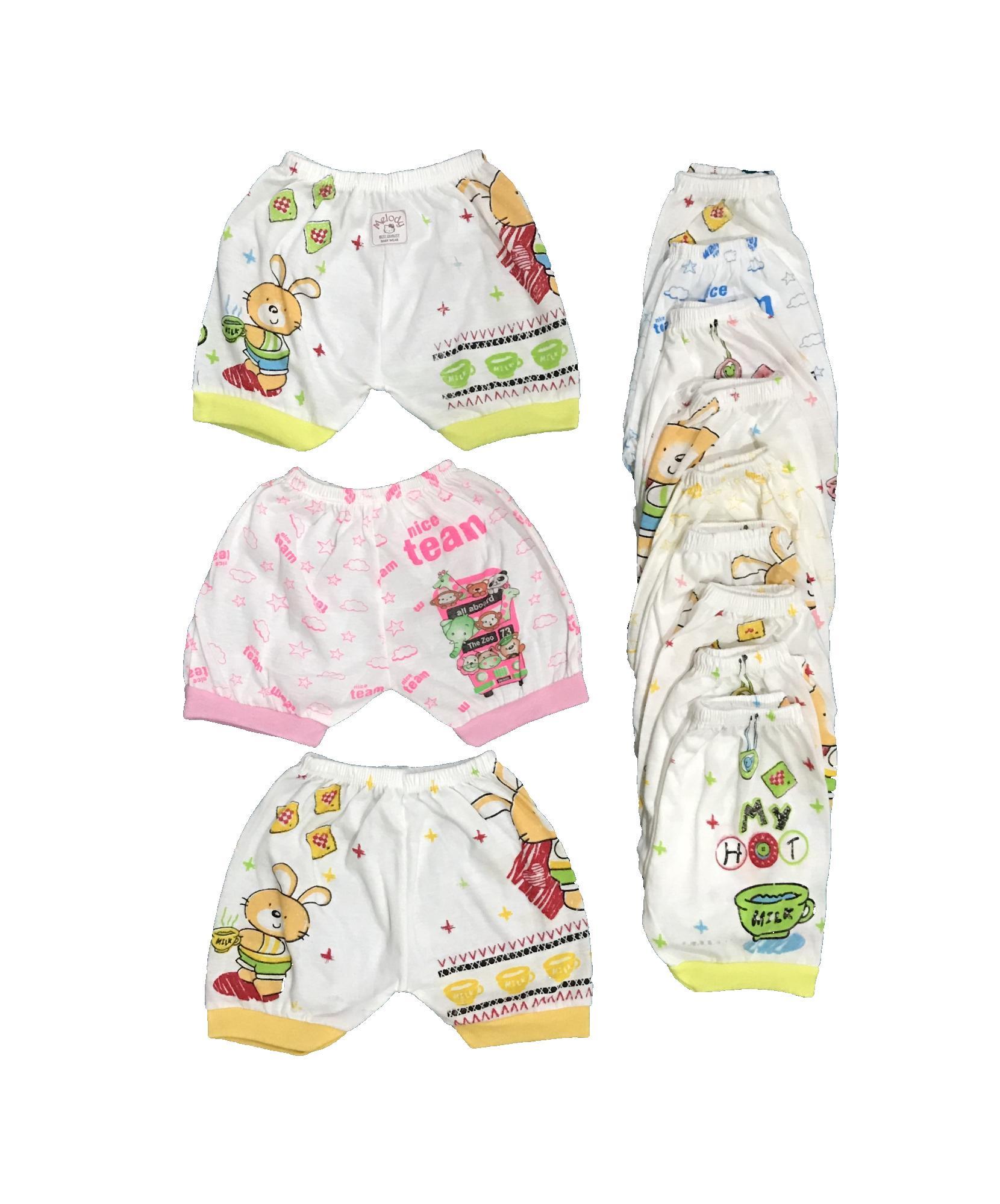 BAYIe - Celana pendek Bayi isi 12 pcs MELODY umur 0-12 bulan/celana santai/celana rumah/anak laki-laki/anak perempuan