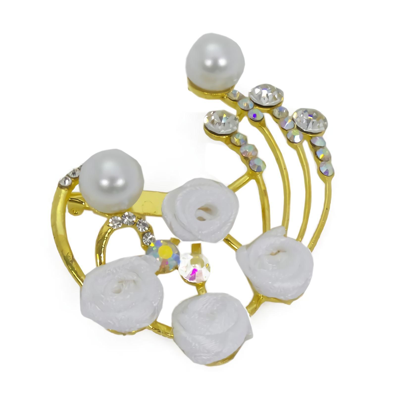 OFASHION Aksesoris Bros [1 Pcs] CA-618-C Hijab Jilbab Mawar Kecil Fashion Jewelry Xuping Emas Putih