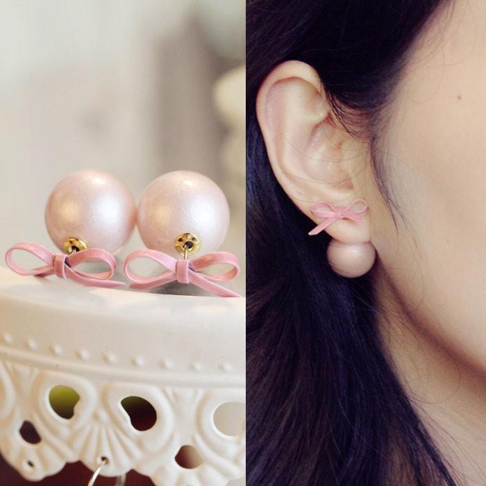 Anting Korea Pita Pink Lucu/Dior Bowknot Minimalist Earrings Import Aksesoris Fashion Wanita Murah