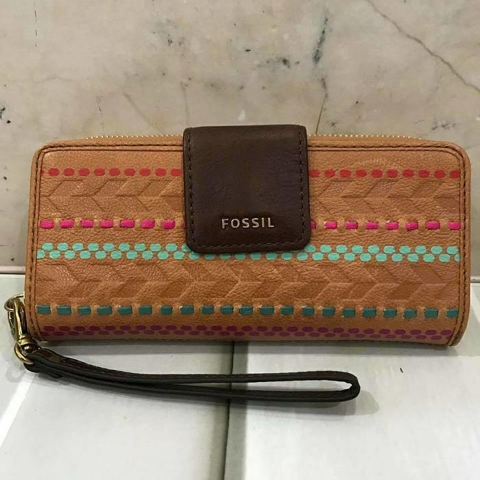Fossil Madison Tab Clutch Zip Wallet Brown Multi. Dompet Fossil Ori - wpOIQw