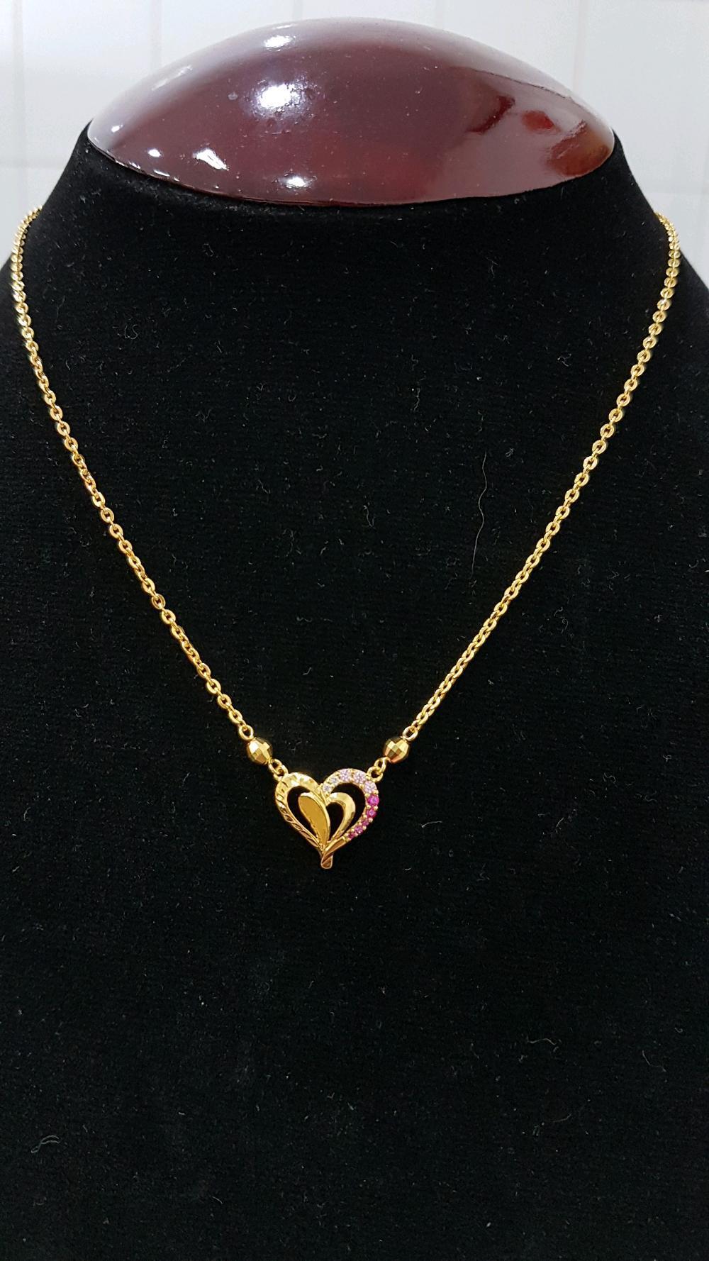 Kalung UBS Emas Asli Kadar 700 Model Love Permata