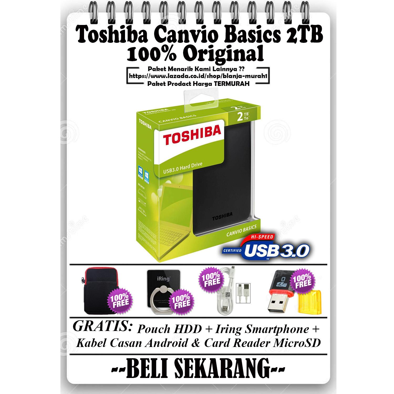 Toshiba Canvio Basics 2TB - HDD / HD / Hardisk Eksternal - Black GRATIS Pouch Harddisk Ext + Iring Smartphone + Kabel Casan Android & Card Reader MicroSD
