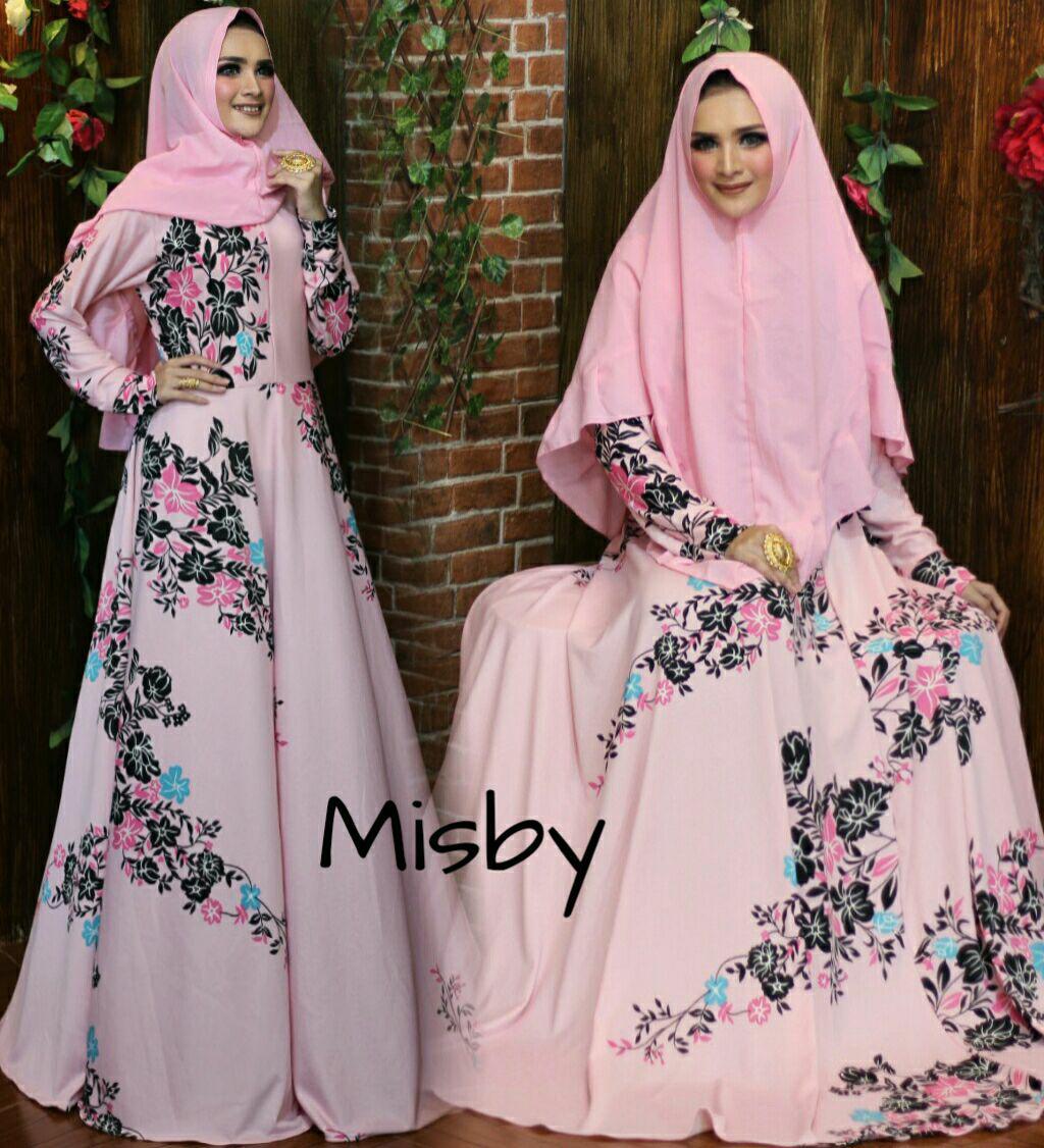 Baju gamis dress gaun syari murah-model rempel/susun bawah motif mix polos-size XL-busui