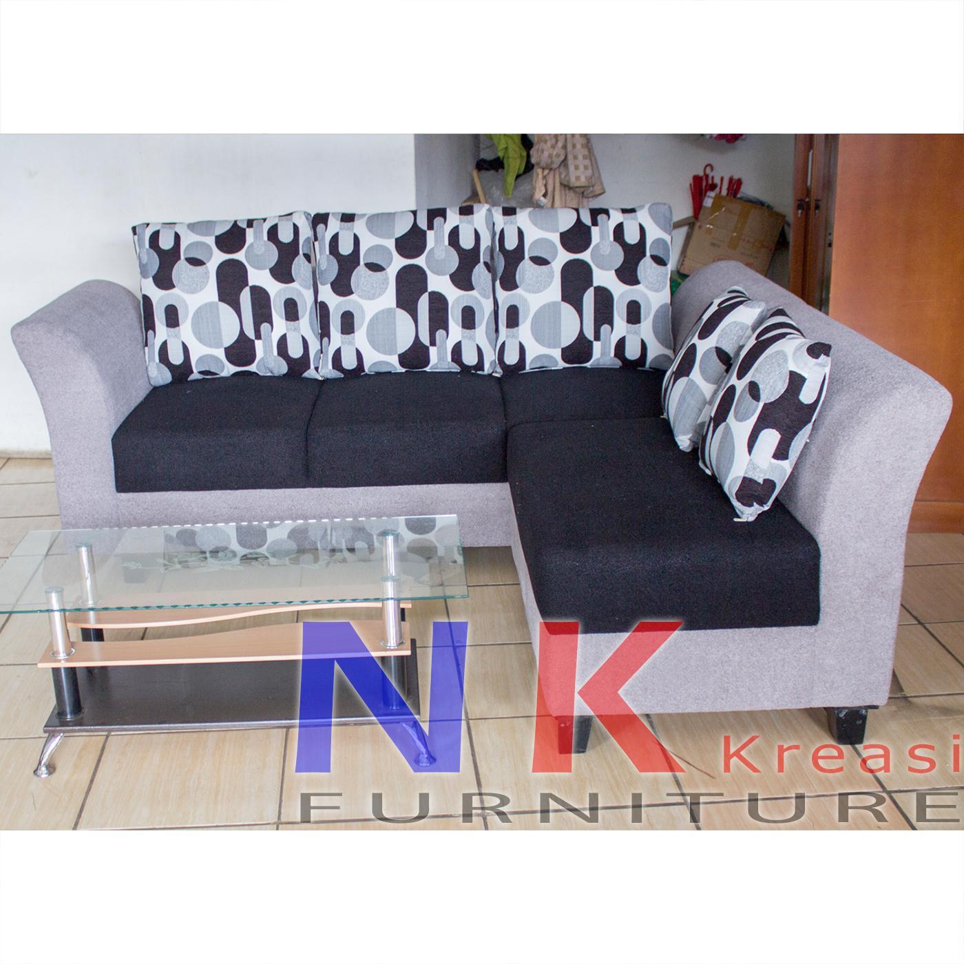 Sofa Kursi Tamu minimalis, L sudut mewah BIG SIZE + MEJA TAMU - JABODETABEK ONLY