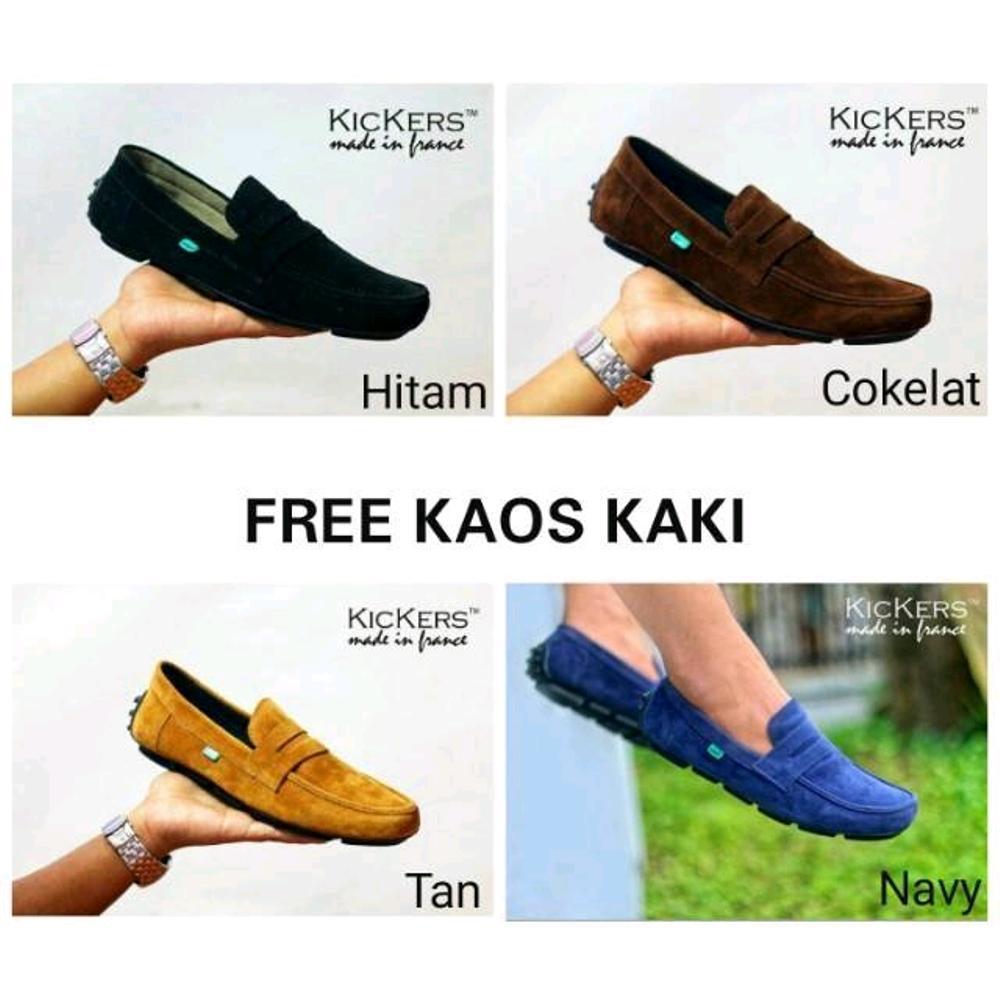 Promo Sepatu casual slip on Kickers slop kulit suede warna hitam cokelat  abu biru untuk kerja dc313c574e
