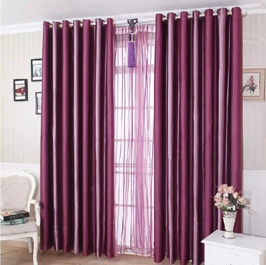 Tirai Pintu Jendela Gorden Hordeng Gordeng Gordyn Curtain Polos Blackout Eyelet Salur Ungu Violet Purple