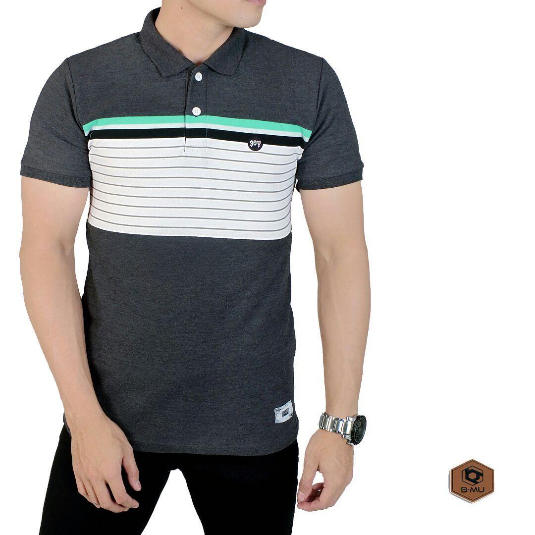 the most - Poloshirt Abu Mix Lines hijau hitam/kaos kerah garis hiaju baju pria murah kaos polo shirt cowok distro Lazada Birthday