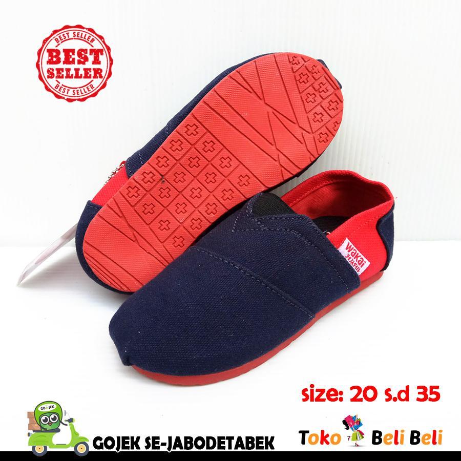 wakai sepatu slip on anak - motif navy merah