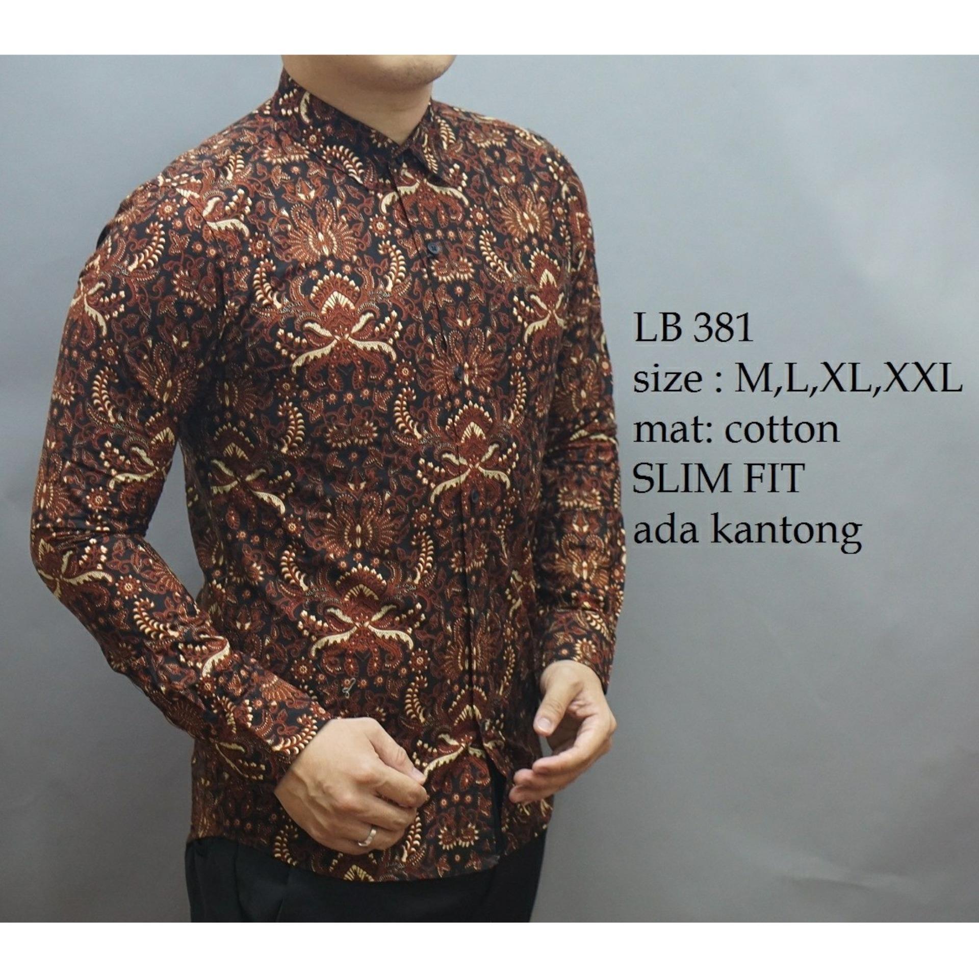 Batik D 567 Baju Batik Pria- Kemeja Pria Slim Fit Lengan Panjang Keren-Batik Pria