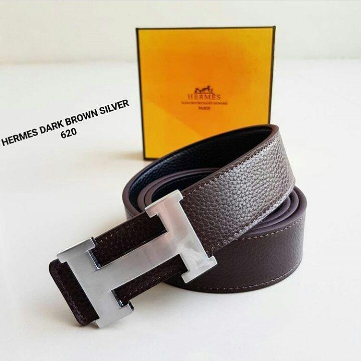 ikat pinggang Hermes 620 Dark Brown Logo Silver