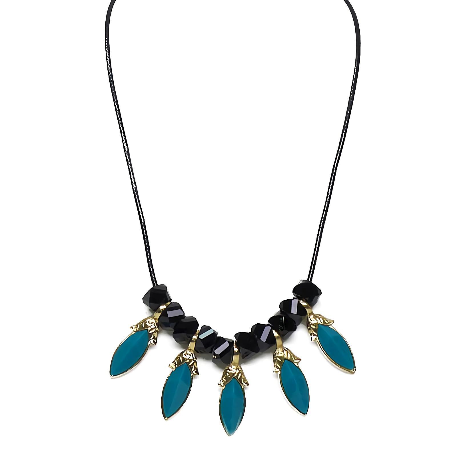 OFASHION Aksesoris Kalung CA-180314-K012 Necklace Fashion Xuping Jewelry Hitam Biru